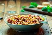 Elbow macaroni with bolognese sauce