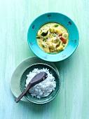 Grünes Kokoscurry mit Reis (Asien)