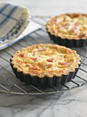 Mini Ham and Cheese Quiches on a Cooling Rack
