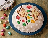 A dome cake decorated with doves for Easter