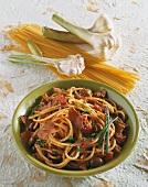 Spaghetti with bottarga and olives