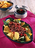 Bean sauce with tortilla chips (Mexico)