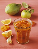 Papaya chutney with ingredients