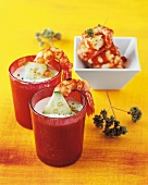 Grilled prawns in cucumber sauce
