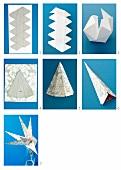 Bastelanleitung für einen Stern aus Pappe und dekorativ bedrucktem Papier als moderner Weihnachtsschmuck