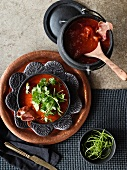 Ginger and tomato soup with pancetta