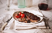 New York Strip Steak with Mushrooms and Tomatoes; With Red Wine