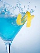 Blue Martini Splash with Lemon Rind