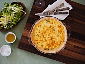 Asparagus Quiche in a Baking Dish; Side Salad