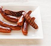 Platter of Grilled Smoked Sausage Halves