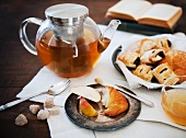 Tea Pot with Apples and Pastries