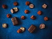 Assorted Chocolates on a Dark Blue Background