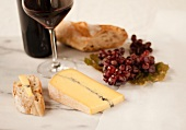 Blue Cheese with Bread, Grapes and Red Wine