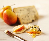 Blue Cheese with Honey and Pear and a Cracker