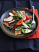 Fattoush (Arabian bread salad) with chicken breast