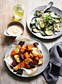 Oven-roasted root vegetables with a grilled courgette salad