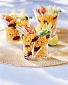 Corn salad with kidney beans, bacon and chicory