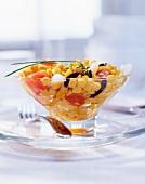 Corn salad with smoked salmon