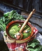 Cold stinging nettle soup with borscht, sorrel and leek