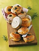 Mini focaccia with olives and carrot cream