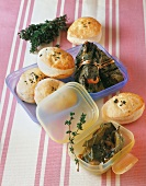Mini unleavened breads and stuffed vine leaves for a picnic