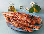 Scampi in bacon