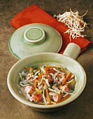 Salmon soup with bean sprouts (China)