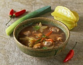 Mussel soup with star fruits (Vietnam)