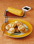 Bregedel djagung (corn cakes with chicken, Indonesia)