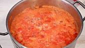 Tomato sauce, simmering