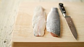 Fillets of fish with skin on