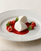 A quark dumpling with raspberry sauce