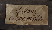 The words 'I love chocolate' written in chocolate