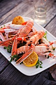 Langoustines with Lemon on a Platter