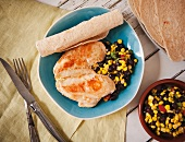 Chicken Fajita Plate; Chicken, Black Bean and Corn Salsa and Tortillas
