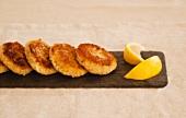 Crab Cakes on Slate with Lemon