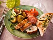 Potato salad with a basil vinaigrette