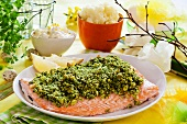 Salmon fillet with a dill and bread crust, lemon creme fraiche and mashed potatoes