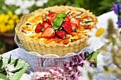 Asparagus cake topped with strawberries