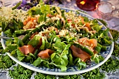 Mixed leaf salad with salmon, asparagus and elderflowers