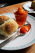 Rohrnudeln (baked, sweet yeast dumpling) with apricot compote
