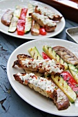 Bread with spiced goat's cheese and grilled vegetables