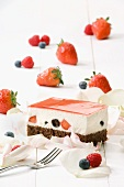 Berry cream slices with a chocolate sponge base