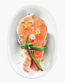 A raw salmon steak