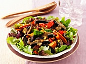 Sweet potato salad with peppers and mushrooms