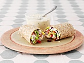 A wholemeal wrap with salad
