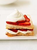Mille feuilles with strawberries and cream