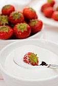 Eine Erdbeere im Zucker wälzen