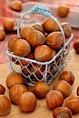 Hazelnuts in a wire basket