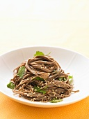 Soba noodles with sesame seeds and coriander (Asia)
